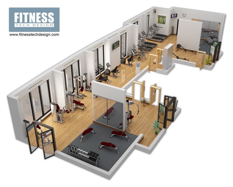 3d gym design 3d fitness layout portfolio fitness tech for Gym floor plan examples