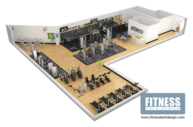 D gym design fitness layout portfolio tech
